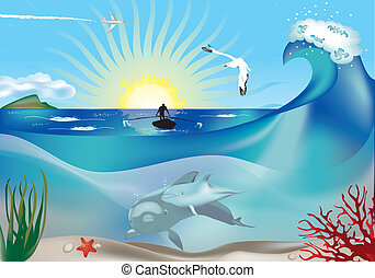 Fisherman and dolphins underwater