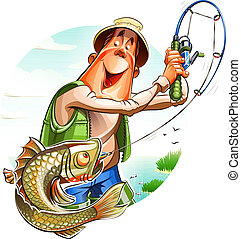 Fisherman and fish. Eps10 vector illustration. Isolated on...