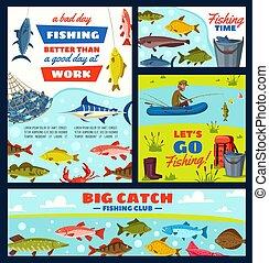 Fisherman and fishery items, fish and tackles