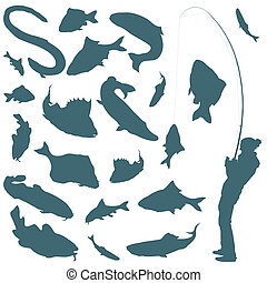 Fisherman and fishes vector background for poster
