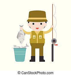 Fisherman and fishing rod, Set Profession character of people in uniform, flat design