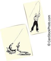 Fisherman and pike - Figure fisherman and pike. Creative...