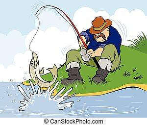 Fisherman and pike