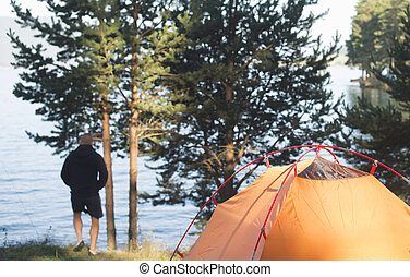 Fisherman and tent
