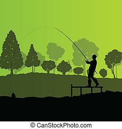 Fisherman, angler vector background landscape concept with trees and river
