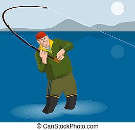Fisherman angling - Illustration on fishing