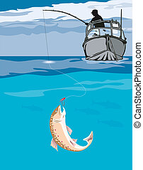 Fisherman angling th - Illustration on fishing
