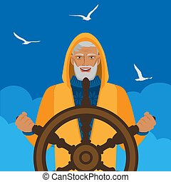 Fisherman at helm against cloudy sky and seagulls. Vector...