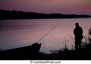 fisherman at sundown