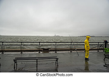 fisherman at the Battery Park in New York City, USA - ...