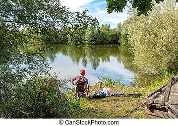 Fisherman at the edge of a lake