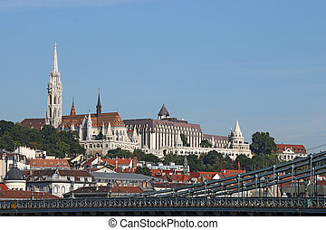 Fisherman bastion and Matthias church Budapest cityscape