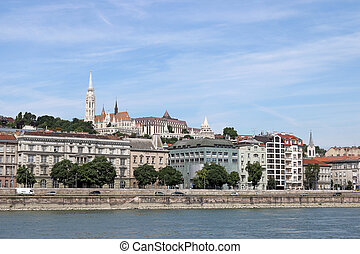 Fisherman bastion and Matthias church Danube riverside Budapest