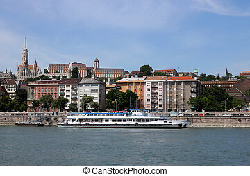 Fisherman bastion and old buildings Danube riverside Budapest