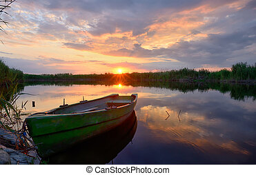 Fisherman boat on Danube Delta
