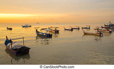 Fisherman boat on sunset - Sunset at the fisherman village...