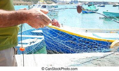 Fisherman boat sea - Fisherman take down the fishing net...