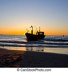 Fisherman Boat with sunset sky environment