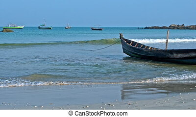 Fisherman boats panorama - Fisherman boats on sand and...