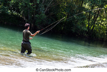 Fisherman casting in fly fishing - Fisherman in the gesture...