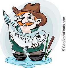 Fisherman catch big fish. Vector illustration in cartoon style