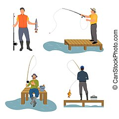 Fisherman Catches Fish Set Vector Illustration