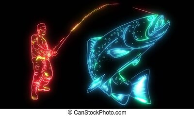 Fisherman catches fish video laser animation - Fisherman...