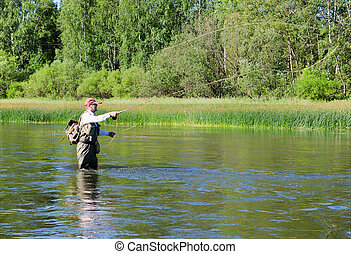 Fisherman catches of chub  fly fishing in the Chusovaya river