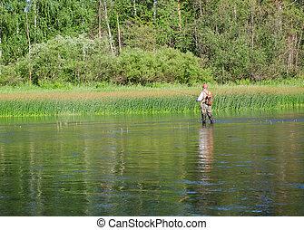 Fisherman catches of chub fly fishing in the Chusovaya river...