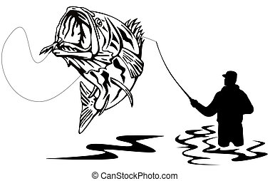 Fisherman catching a bass - Illustration of a Fisherman...