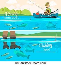 Fisherman catching fish at lake
