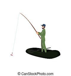 Fisherman Catching Fish with Fishing Rod, Male Fisher Character Standing on Inflatable Boat Vector Illustration