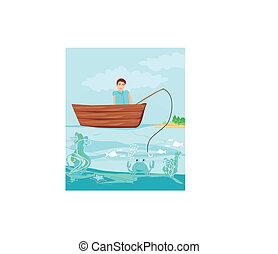 Fisherman catching the fish