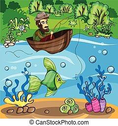 Fisherman catching the fish - Vector cartoon illustration