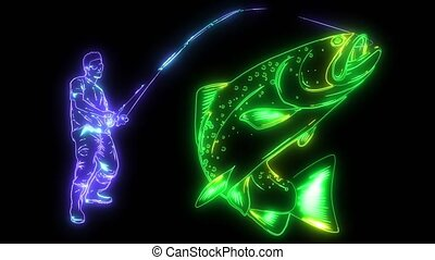 Fisherman caught a fish silhouette video animation -...