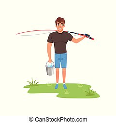 Fisherman character with fishing rod and bucket of fish vector Illustration on a white background