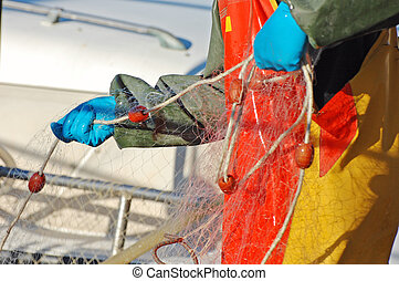 Fisherman controlling net