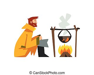 Fisherman Cooking Fish Soup in Cauldron Over Bonfire, Bearded Fishman Character in Raincoat and Rubber Boots Vector Illustration