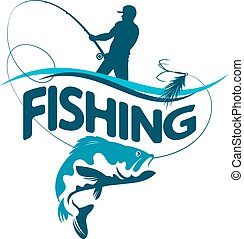 Fisherman draws fish silhouette - Fisherman with a fishing...