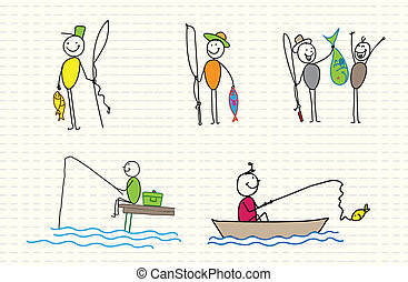 fisherman editable vector