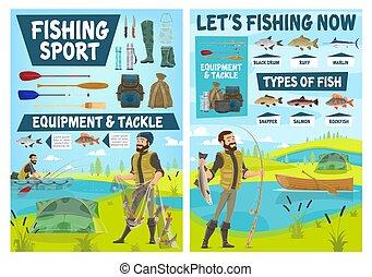 Fisherman, fish, fishing sport equipment, tackle