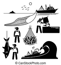 Human pictogram stick figures showing the fishery industry with large boat and big net in the sea. It also shows the workers working in the ship and their ship is facing big ocean waves.