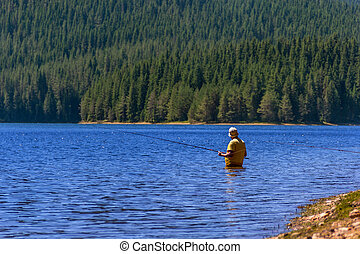Fisherman fishing on a lake