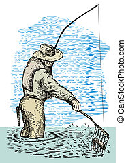 Illustration of a fisherman fly fishing with a net sketch in water against a blue background