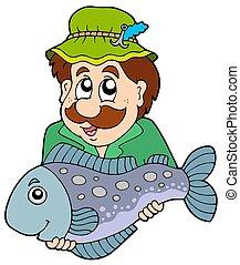 Fisherman holding big fish - isolated illustration.