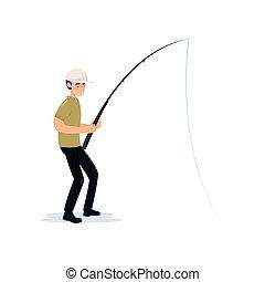 Fisherman Holding Fishing Rod, Boy Fisher Character Catching Fish Vector Illustration