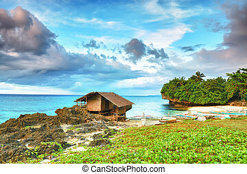 Fisherman hut on the coast. Bohol. Philippines