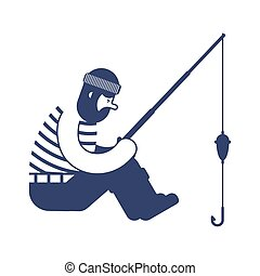 Fisherman icon. fishing rod isolated. Vector illustration