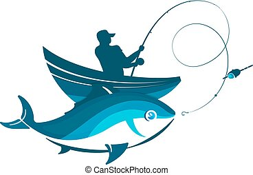 Fisherman in a boat and fish