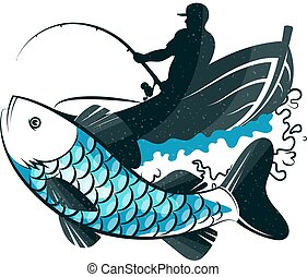 Fisherman in a boat with fishing rod and fish catch